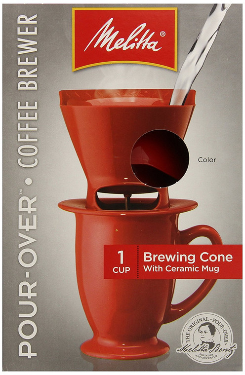 Melitta Coffee Maker Single Cup Pour-Over Brewer with Coffee Mug Red