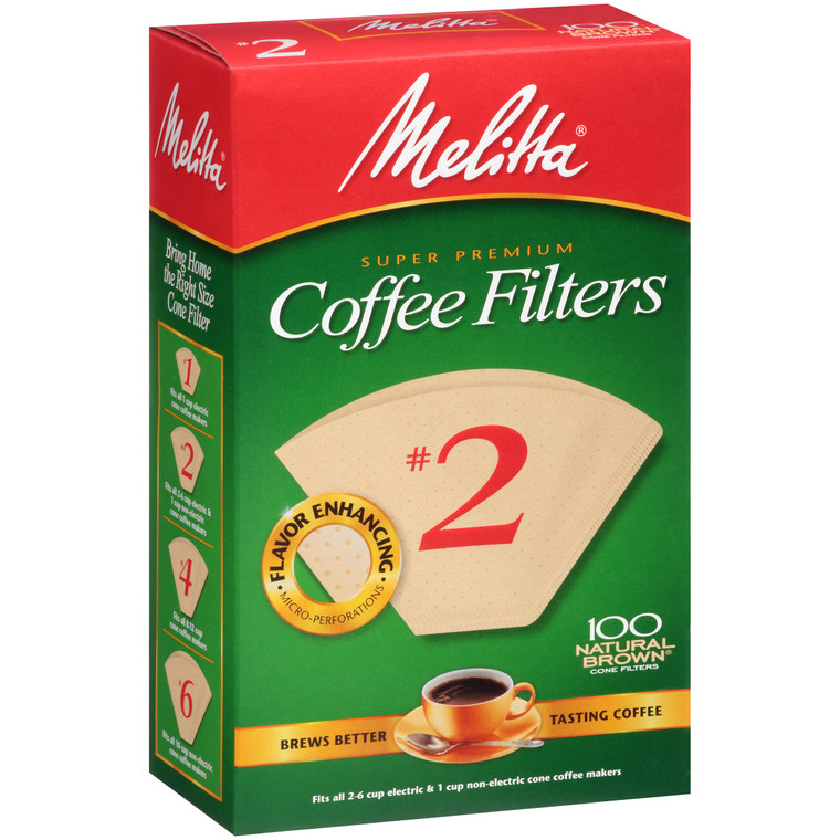 Melitta Super Premium Coffee Filters #2 Natural Brown - 100 CT