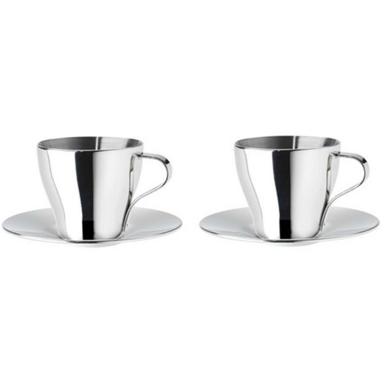 Ikea Home Kitchen Beverage Tea Coffee Mug Espresso Cup And Saucer Stainless Steel Pack Of 2
