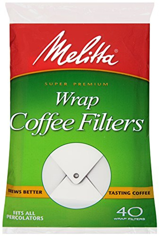 Melitta Coffee Filters for Percolators White Wrap Around 40-Count Filters