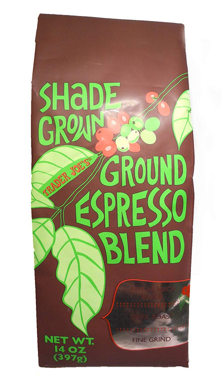 Trader Joe's Shade Grown Ground Espresso Blend 100% Arabica Beans Dark Roast Fine Grind