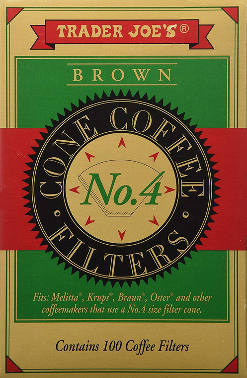 Trader Joe's Brown Cone Coffee Filters # 4- 100ct