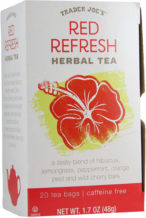 Trader Joes Red Refresh Herbal Tea 20 Tea Bags