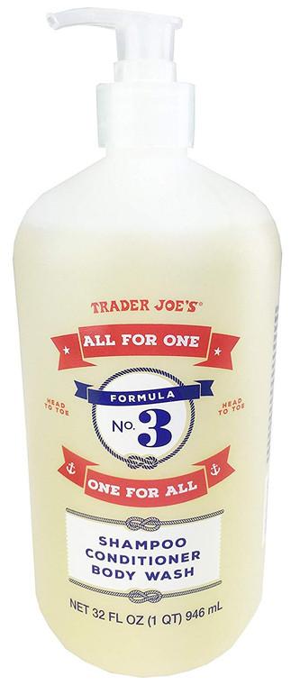 "Trader Joe's Formula No.3 ""All for One, One for All"" Shampoo Conditioner & Body Wash 32 fl oz"