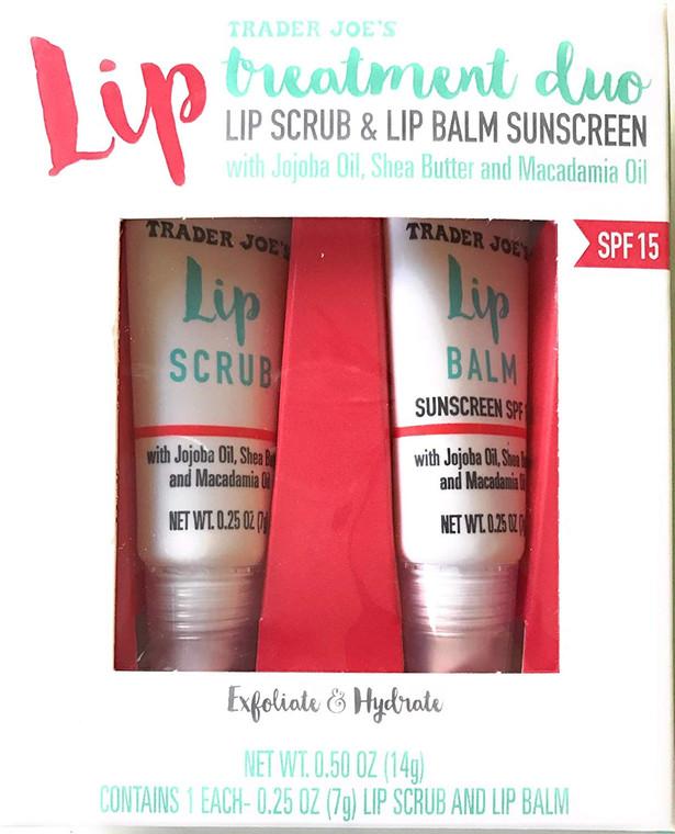Trader Joe's Lip Treatment Duo Lip Scrub and Lip Balm Sunscreen
