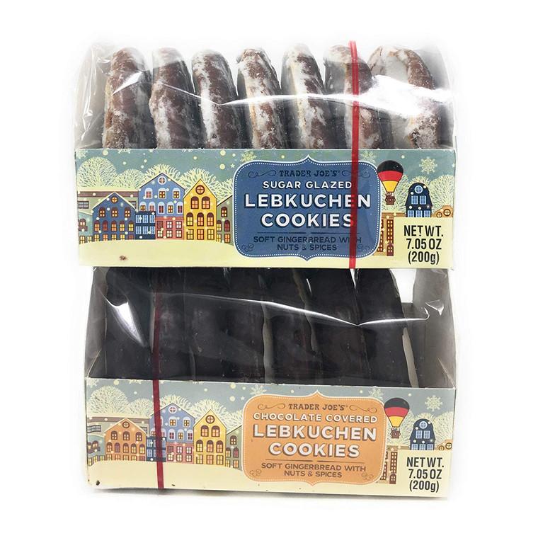 Lebkuchen Gingerbread Cookies, Chocolate and Sugar Glazed, Trader Joe's, Pack of 2 (Glaze & Choc)