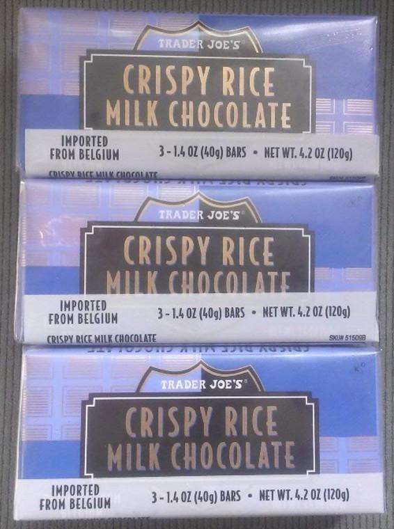 Trader Joe's Crispy Rice Milk Chocolate Candy Bars with Natural Vanilla 3 Pack of 3