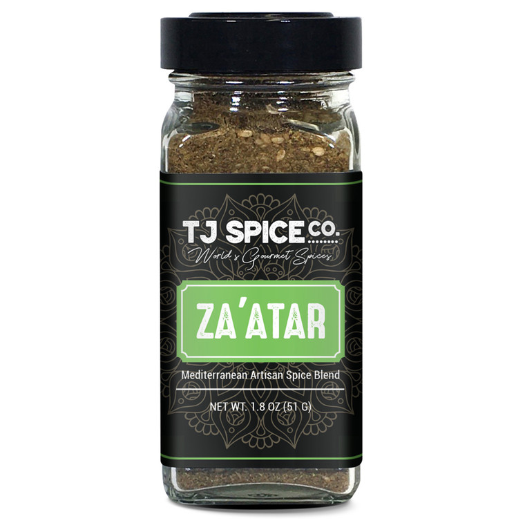 Za'atar (Zatar/Zaatar/Zahtar) Seasoning Blend by TJ Spice Company | 1.8 oz | Traditional Lebanese Spice Blend | Zahtar Spice for everything | No Additives, No Perservatives