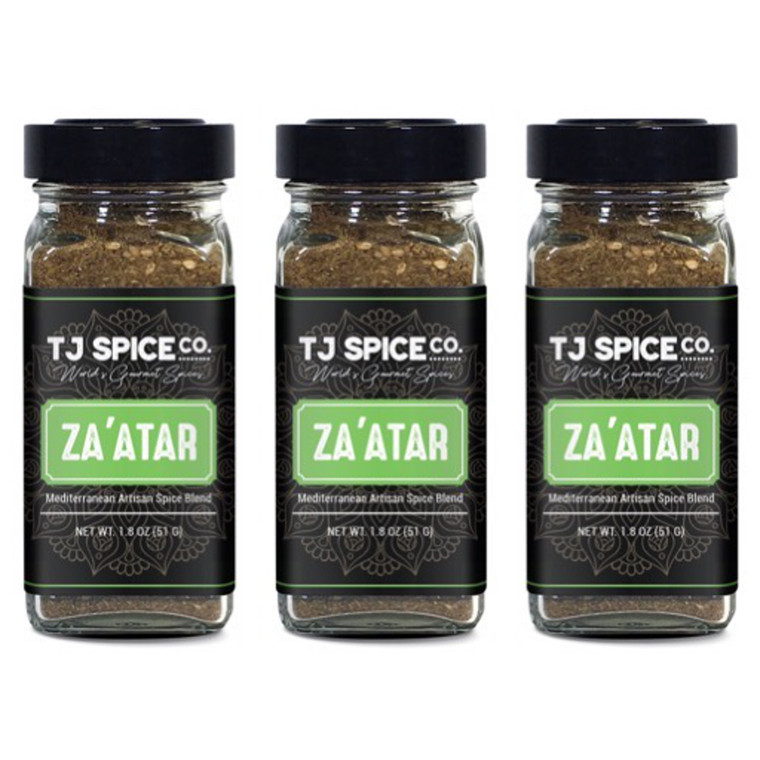 Za'atar (Zatar/Zaatar/Zahtar) Seasoning Blend by TJ Spice Company | 1.8 oz(3 PACK) | Traditional Lebanese Spice Blend | Zahtar Spice for everything | No Additives, No Perservatives