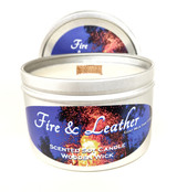 Fire & Leather Wooden Wick Soy Candle