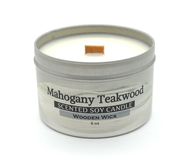 Mahogany Teakwood Wooden Wick Soy Candle