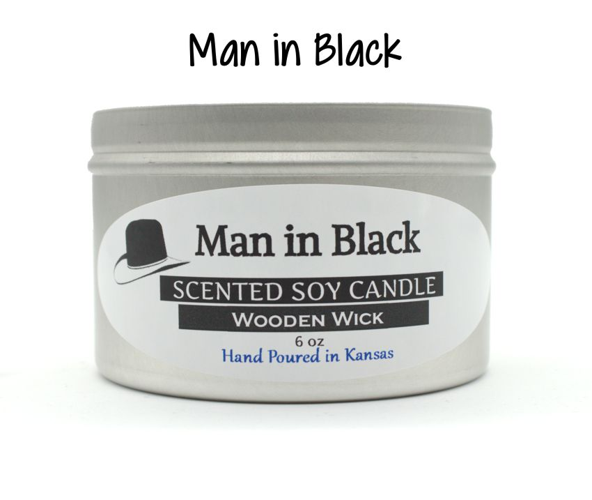 Man in Black Wooden Wick Soy Candle