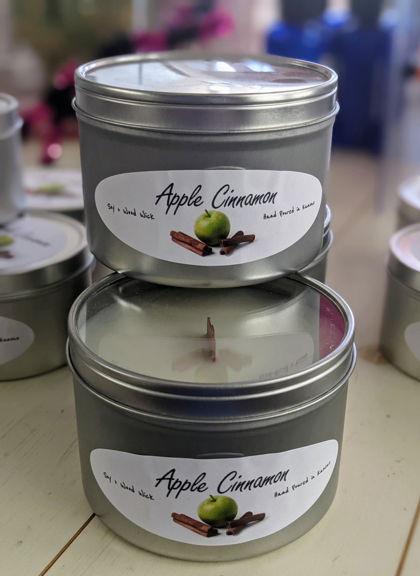 Large Apple Cinnamon Wooden Wick Candle