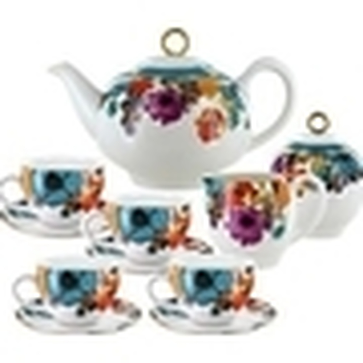 Multicolor Poppy Porcelain Tea Set