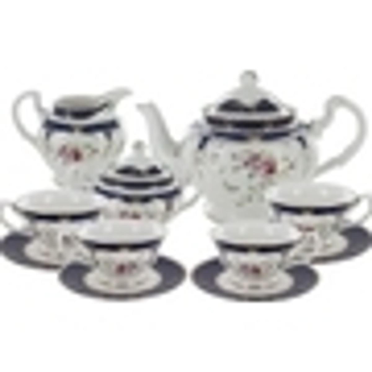 Navy Rose Porcelain