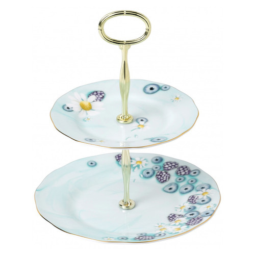 Royal Albert Fine Bone China -Alpha Foodie Cake Stand Two-Tier Turquoise