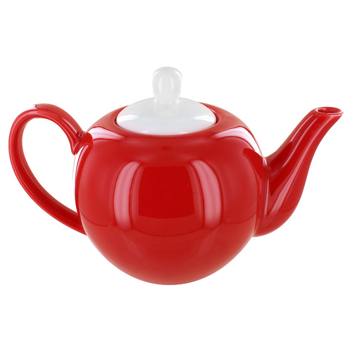 English Tea Store 6 Cup Porcelain Teapot- Red Gloss Finish