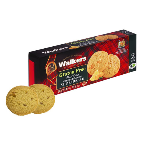 Walkers Gluten Free Pure Butter Ginger & Lemon Shortbread Cookies - 4.9oz (140g)