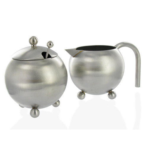 Stainless Steel Sugar & Creamer Set - Matte Finish
