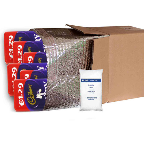 Insulated Shipping Liner With Cold Gel Pack with Chocolate Bars