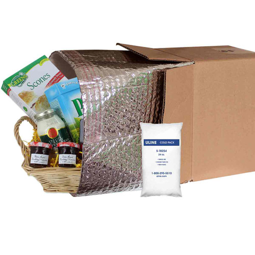 Insulated Shipping Liner With Cold Gel Pack for Tea Gift Baskets