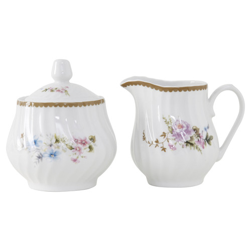 Timeless Rose Porcelain Sugar and Creamer Set