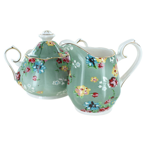 Shabby Rose Green Porcelain - Sugar and Creamer Set