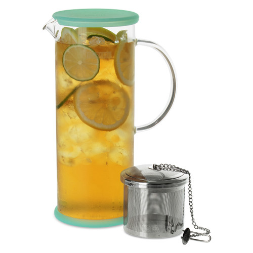 Lucent Glass Iced Tea Jug w/ Capsule Infuser 48 oz.-Mint Green