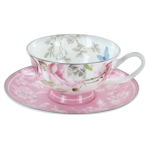 Beau Rose Bone China - Cup and Saucer - Set of 4