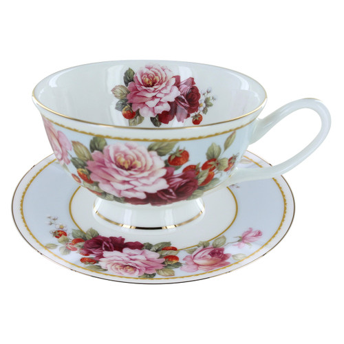Peony and Strawberry Blue Bone China - Tea Cup and Saucer Set of 4