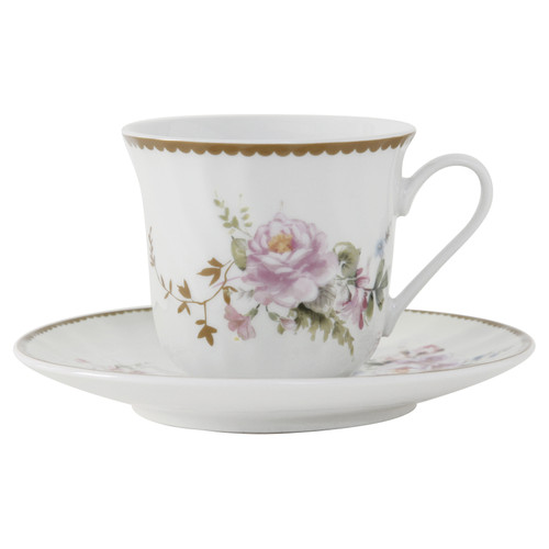 Timeless Rose Porcelain Tea Cup and Saucer - Set of 6