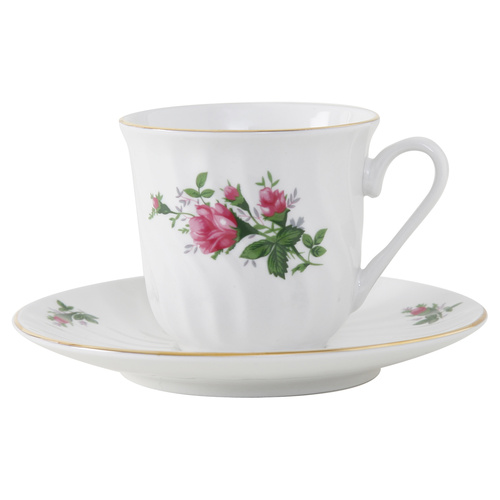 Vintage Rose Porcelain Tea Cup and Saucer - Set of 6