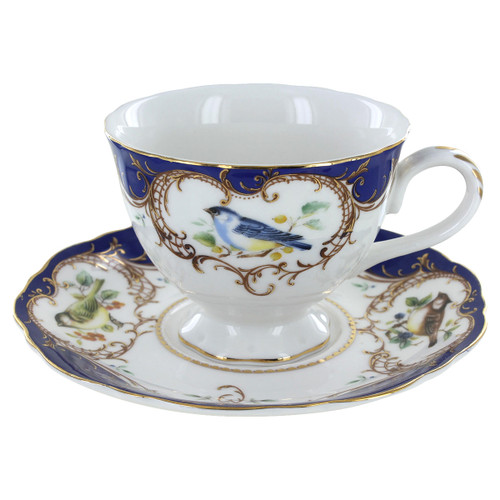 Royal Blue Bird Porcelain - Tea Cup and Saucer Set