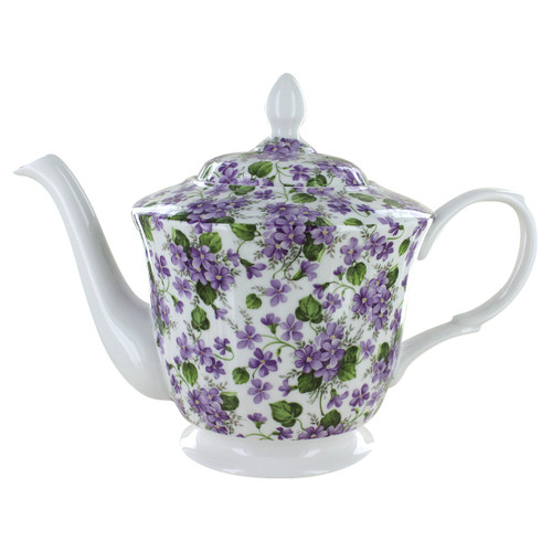 Gracie's Violets Bone China - 5 Cup Teapot
