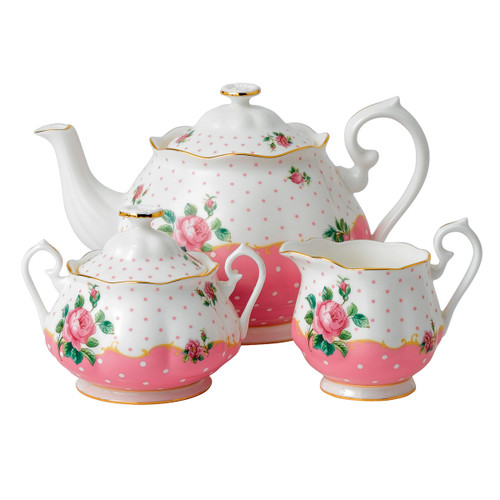 Royal Albert Cheeky Pink Fine Bone China - 3 Piece Tea Set