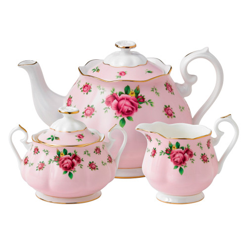 Royal Albert New Country Roses Pink Fine Bone China - 3 Piece Tea Set