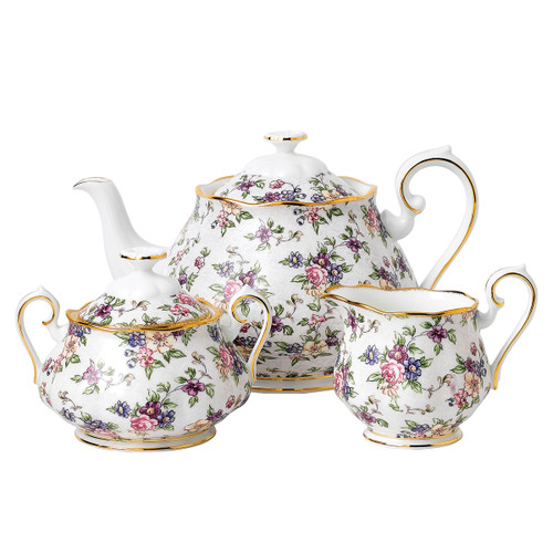 100 Years of Royal Albert Fine Bone China - 1940 English Chintz - 3 Piece Tea Set