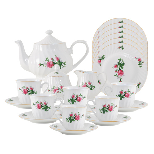 Vintage Rose Porcelain Tea Set