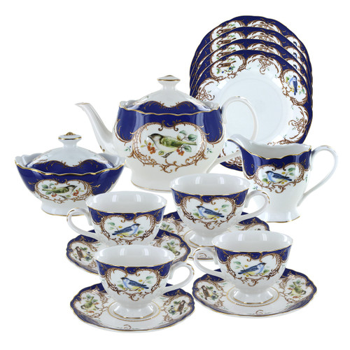 Royal Blue Bird Porcelain Tea Set