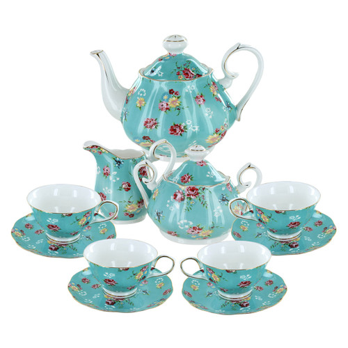 Shabby Rose Turquoise Porcelain Tea Set