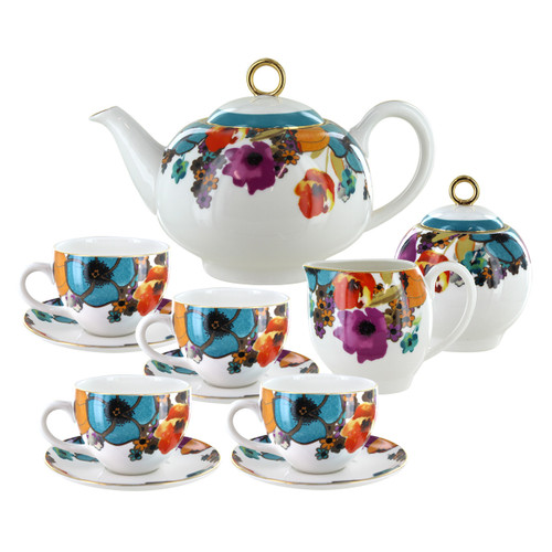 Multicolor Poppy Porcelain Tea Set