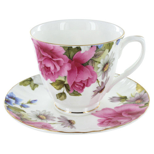 Grace's Rose Bone China - Cup and Saucer - Set of 4