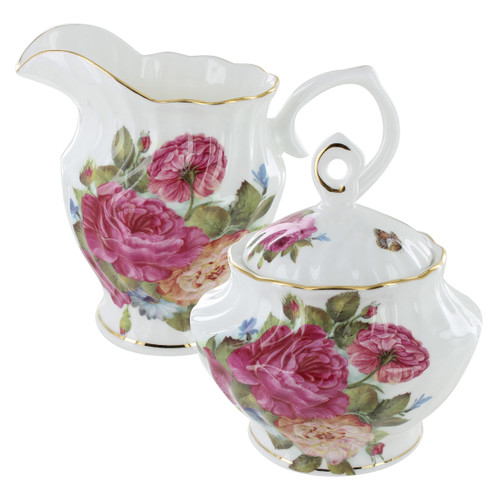 Sandra's Rose Bone China - Sugar and Creamer Set