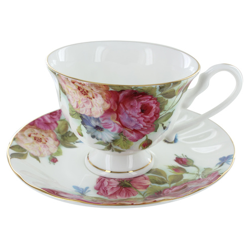 Sandra's Rose Bone China - Cup and Saucer - Set of 4