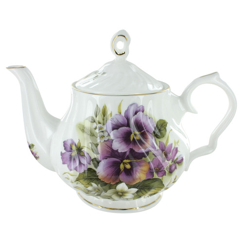 Purple Pansy Bone China - 6 Cup Teapot