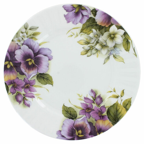 Purple Pansy Bone China - 7.5in Dessert Plates - Set of 4
