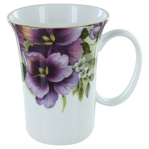 Purple Pansy Bone China Trumpet Mug - 11oz - Set of 4