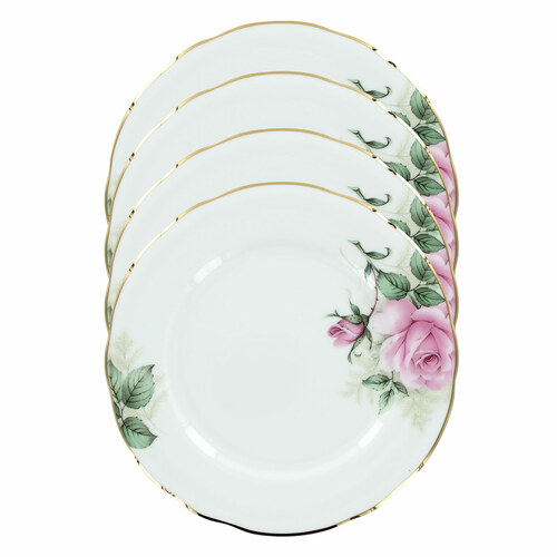Rose Bouquet Bone China - 7.5in Dessert Plates - Set of 4