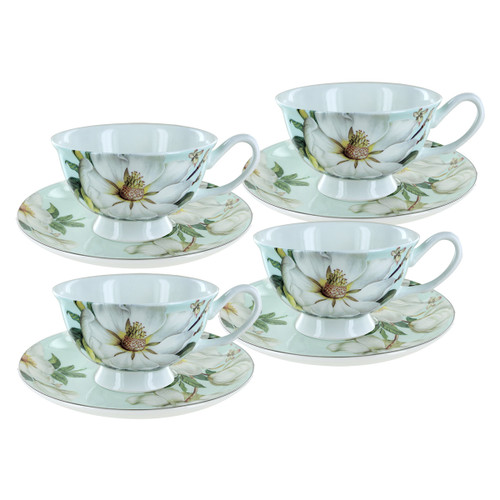 Blue Magnolia Bone China - Cup and Saucer - Set of 4