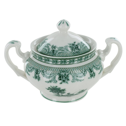 Green Toile Porcelain - Sugar Bowl with Lid